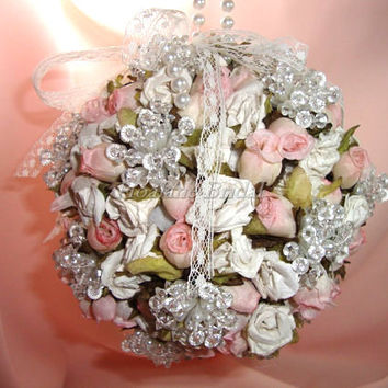 Kissing Ball, pink/cream Flower ball, Pomander for wedding, pink kissing ball