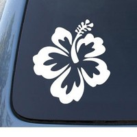 HIBISCUS FLOWER - Hawaiian - Car, Truck, Notebook, Vinyl Decal Sticker #1019 | Vinyl Color: White
