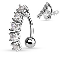 Silver Vertical Drop Cubic Zarconia 14ga Navel Ring 316L Surgical Steel Belly Button Rings