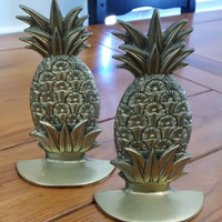 Vintage Brass Pineapple Book Ends Great Library Den Office Decor Mothers Day Fathers Day Housewarming Wedding Gift