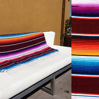 Serape striped Mexican blanket textile throw beach bed rainbow Southwestern Bright maroon