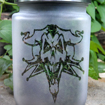 Joker Skull Etched Glass Stash Jar- Skull Decor - Smokers Gift - Novelty Halloween Tea Light Candle Holder