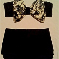 Floral Bow Bikini With High Waisted Bottoms