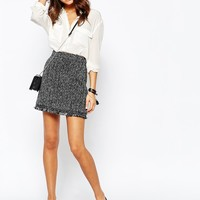 New Look Herringbone Skirt With Fraying at asos.com