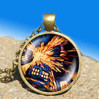 Exploding Tardis Dr. Who van gogh vintage pendant-necklace ready for gifting Buy 3 and get the 4th one free