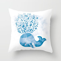 Cute Watercolor Whale Throw Pillow by noondaydesign