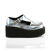 Demonia Holographic Silver T-Strap Creepers