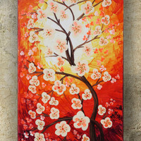 CHERRY BLOSSOMS art SAKURA Tree love painting contemporary artwork red orange acrylic painting on canvas by Ksavera gift ideas for her decor