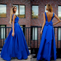 Sexy 2016 Blue V Neck Long Chiffon Prom Dresses A Line Arabic Dubai Stain Bow Cocktail Dress Formal Evening Party Gowns EF36