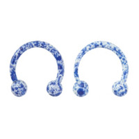 "Steel 3/8"" Blue Splatter Circular Barbell 2 Pack"