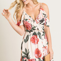 Mabel Blush Floral Cold Shoulder Dress