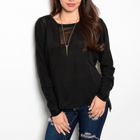 Sheer Panel Long Sleeve Relaxed Fit Knit Top in Black