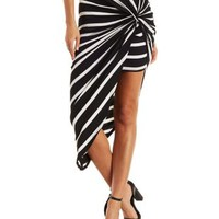 Black/White Striped Knotted Asymmetrical Skirt by Charlotte Russe