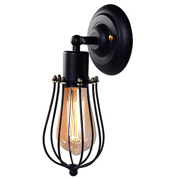 Wire Cage Wall Sconce, CMYK LED Dimmable Metal Industrial Wall Light Shade Vintage Style Edison Mini Antique Fixture for Headboard Bedroom Garage Porch Mirror 161101-black