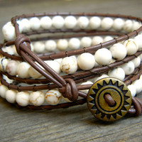Beaded Leather Wrap Bracelet 3 Wrap with White Howlite Beads on Brown Leather