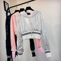 Trendy Women Chic Sparkly Sequin Bomber Jacket Fashion Korean Style Patchwork Short Jacket Casual Solid Glitter Zipper Jackets Outwear AT_94_13