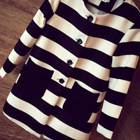 Black and White Long Sleeve Striped Buttoned Double Pocket Coat