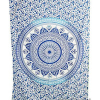 """Amitus Exports ® 1 X Dome Ombre 80""""X52"""" Approx. Inches Blue With White Background Color Cotton Fabric Multi-Purpose Handmade Tapestry Hippy Indian Mandala Throws Bohemian Tapestries"""