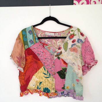 Sacred Threads Patchwork Crop Top Blouse