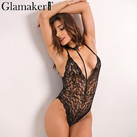 Glamaker Halter bodycon lace jumpsuit romper Elegant transparent sleeveless bodysuit women Backless slim party sexy bodysuit