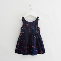 Cherry Baby Sundress Infant baby Girl Halter Summer Dress For Kids Holiday Party Casual Costume Children Colorful Clothing Wear