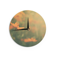 "Angie Turner ""Orange Cosmo"" - Digital Floral Wall Clock"