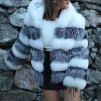 New White Grey Striped Pockets Hooded Faux Fur Fashion Outerwear