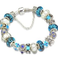 Blue Beaded Silver Plated Charm Bracelet Compatible with Pandora Style Bracelet (7.1inch=18cm)