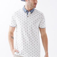 Chambray-Trimmed Southwestern Print Polo