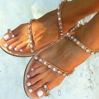 Hot style hot selling water diamond flat flat simple flip-toe sandals