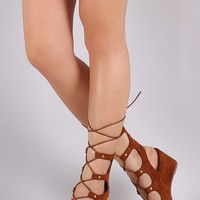 Vegan Suede Studded Corset Lace Up Low Wedge