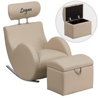 Custom Designed Kids Vinyl Rocking Chair with Ottoman and Personalized Headrest