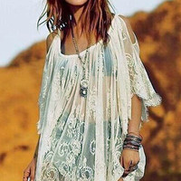 White Floral Sheer Lace Kaftan with Cut -Out Sleeves