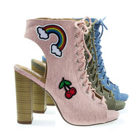 BeLove Pink Embroidery Patch Work Block Heel Lace Up Ankle Bootie, Military Lace Up