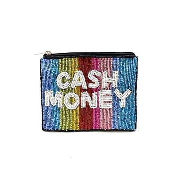 "Multi "" CASH MONEY "" Beaded Coin Purse"