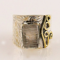 White Quartz Rough Two Tone Sterling Silver Band Ring - keja jewelry