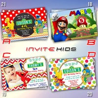 Sesame Street and Super Mario Invitation - Invitation Card - Birthday Party Kids - InviteKids
