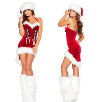 Women Christmas Costumes Sexy Red Christmas Dress Santa Claus Costumes for Adults Uniform