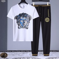 Versace Men and Women Fashion Black Leisure Tracksuit Two Piece Suit Set created