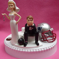 Wedding Cake Topper New England Patriots Pats Football Themed Ball and Chain Key w/ Garter, Display Box