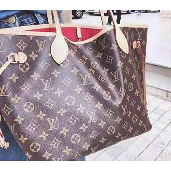 LV Louis Vuitton Stylish Women Leather Handbag Tote Shoulder Bag And Wallet Two Piece A Set