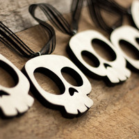 Halloween garland strand of 6 wooden skulls party decor table decoration mantle display fall decorations
