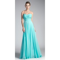 Ruched Sweetheart Bridesmaid Dress Aqua Floral Accent Empire