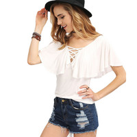 Ruffle Sleeve Cross Lace T-Shirt 9684