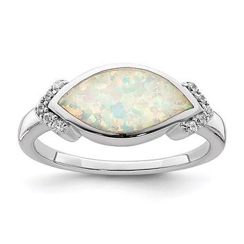 Sterling Silver Marquise Lab Created Opal And CZ Ring