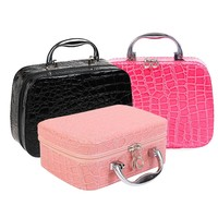 Women Beauticians Cosmetic Cases Travel Handbags Pu Leather Organizer Makeup Bag Wash Bags Make Up Cosmetic Case