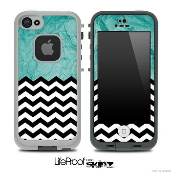 Mixed Crumpled Turquoise and Chevron Pattern Skin for the iPhone 5 or 4/4s LifeProof Case