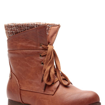 Whiskey Faux Leather Lace Up Ankle Knit Boots