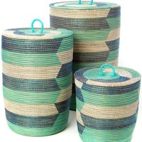 Set of Three Blue Sahara Hamper Baskets
