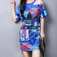 """Adidas"" Fashion Casual Letter Multicolor Print Round Neck Short Sleeve Mini Dress"